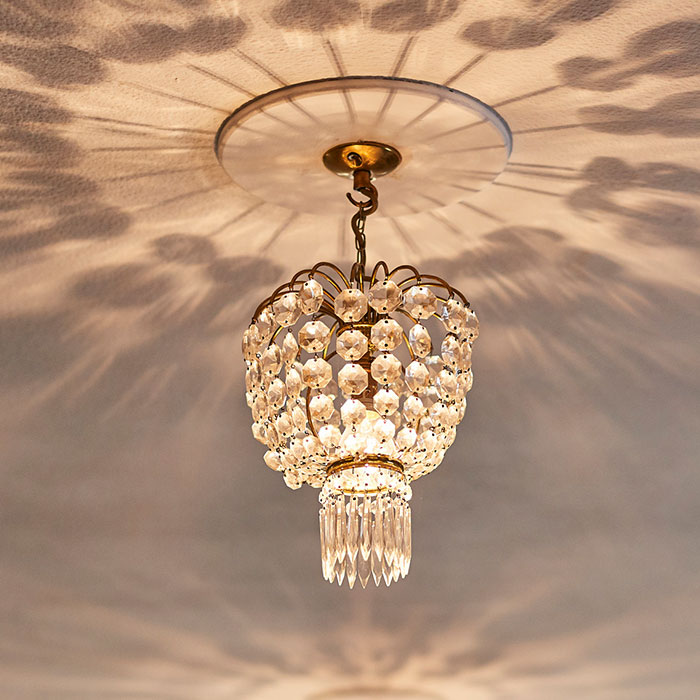 Bright Chandelier detailing the decor of the welcoming Bed and Breakfast in Frome