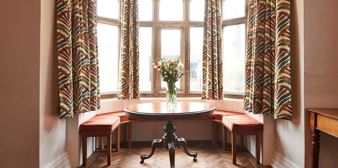 Open seating at boutique Rook Lane House