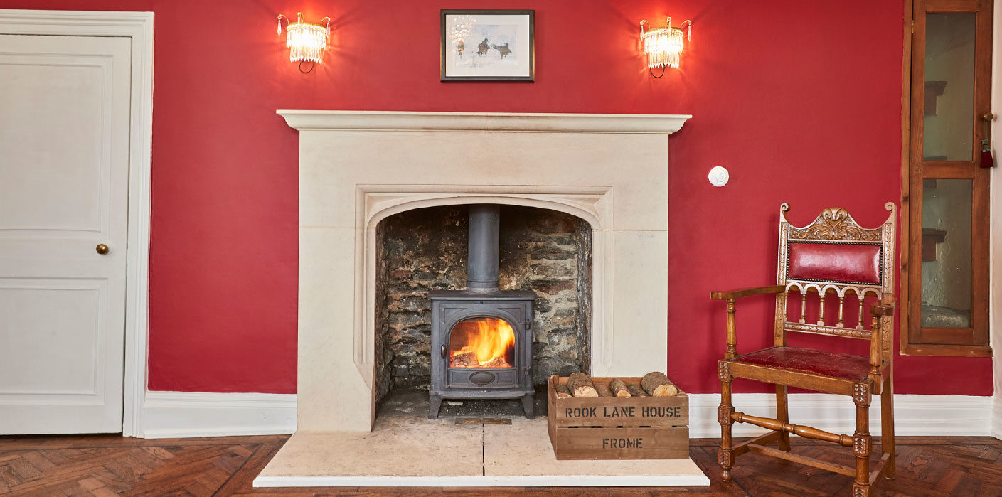 Warm and welcoming fireplace at boutique bed and breakfast in Frome